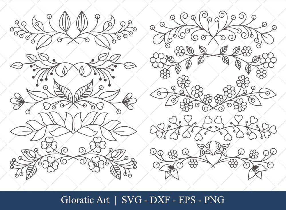 Floral Text Divider SVG Cut Files | FTD008