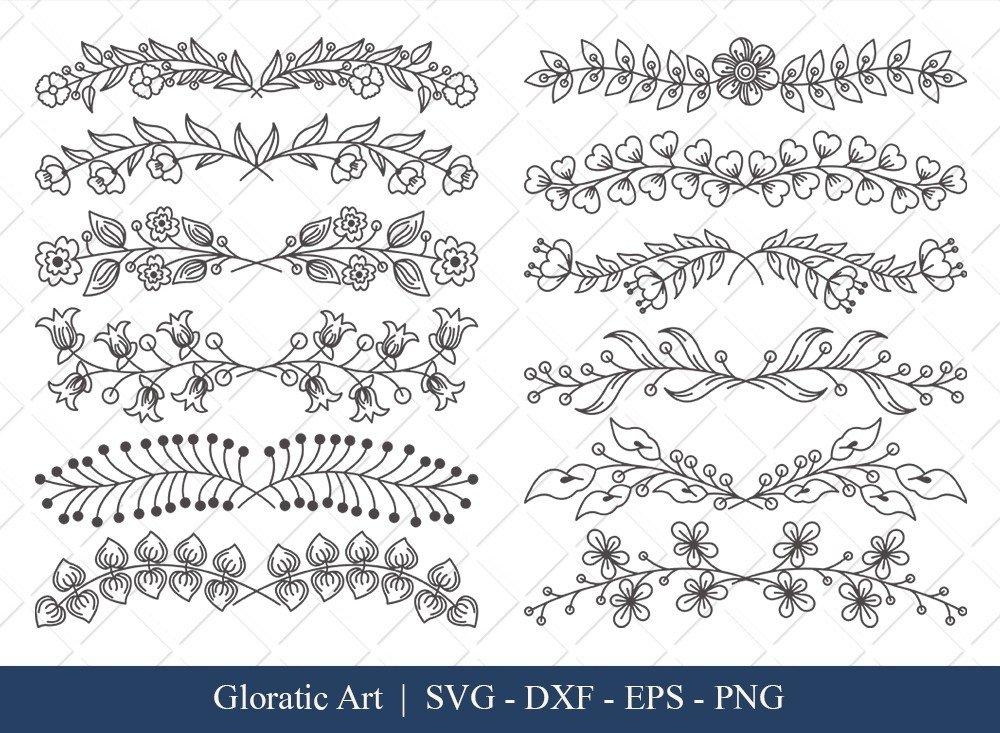 Floral Text Divider SVG Cut Files | FTD0011