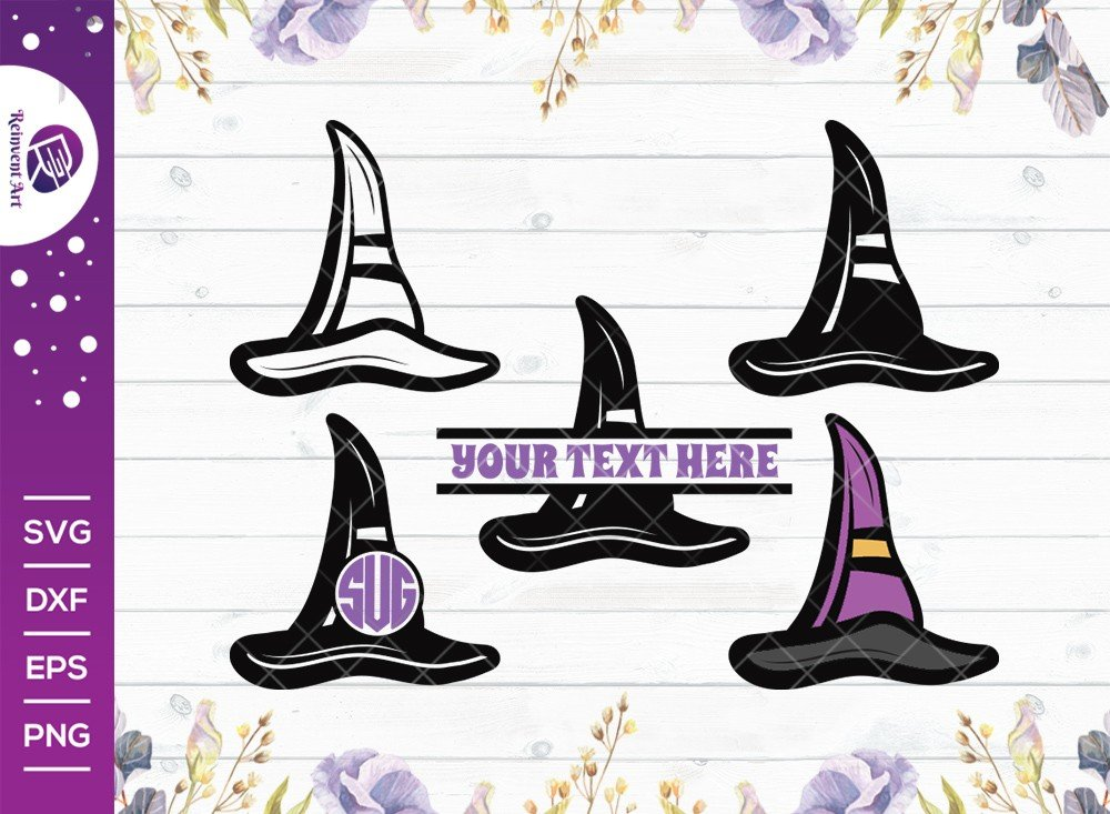 Halloween Hat SVG Cut File   Witch Hat SVG   Split Monogram