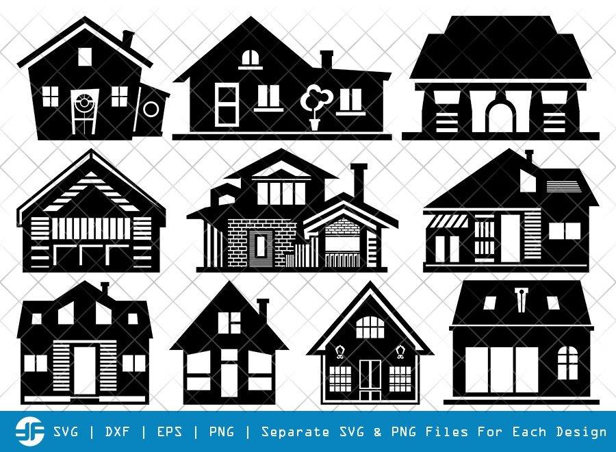 Home SVG Cut Files | Building SVG | House Silhouette Bundle