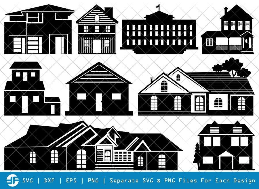 House SVG Cut Files | Building SVG | Home Silhouette Bundle