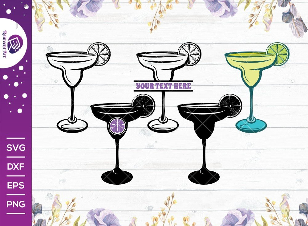 Margarita Glass SVG Cut File   Margarita Glass With Lime Svg