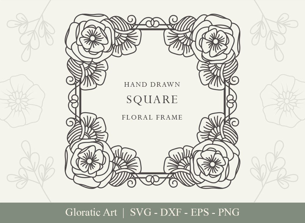 Square Floral Frame SVG Cut Files   SFF001