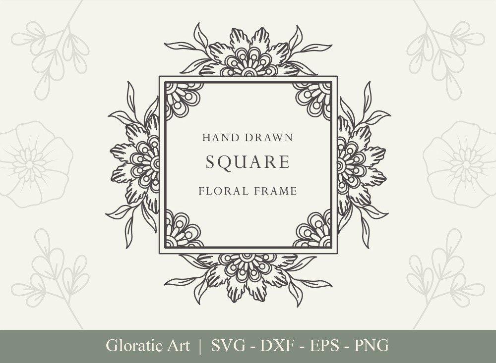 Square Floral Frame SVG Cut Files | SFF003