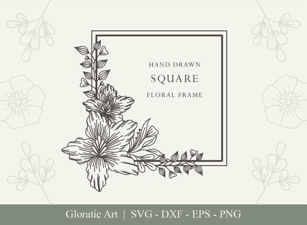 Square Floral Frame SVG Cut Files | SFF004