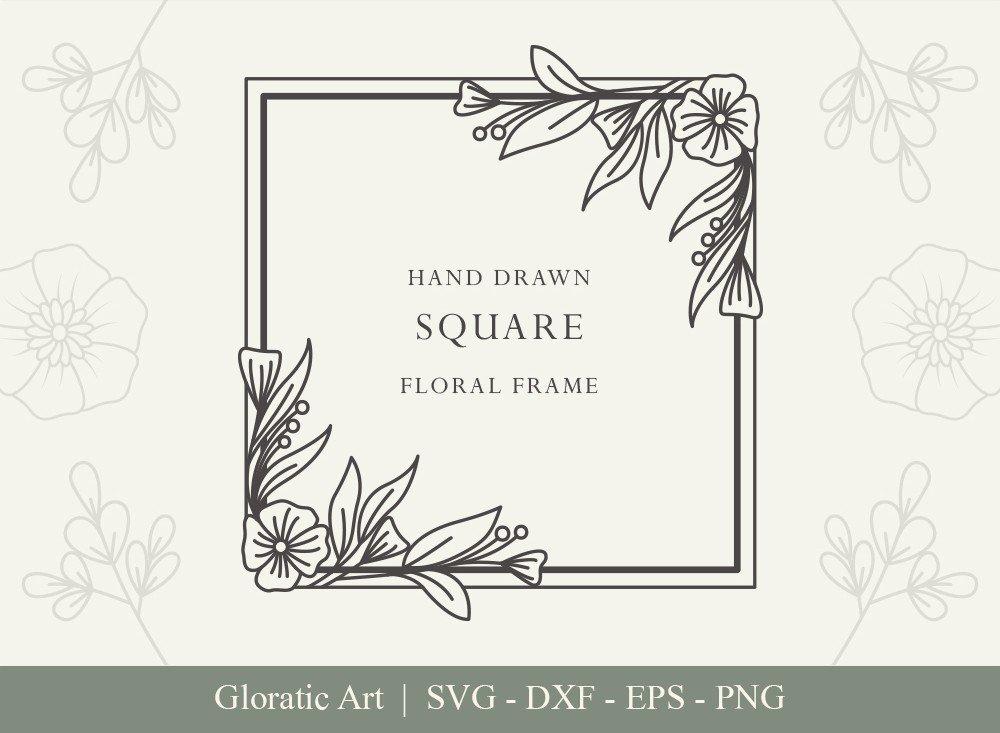 Square Floral Frame SVG Cut Files   SFF005
