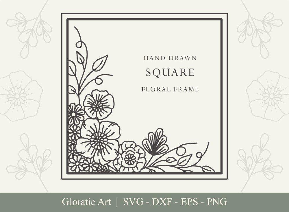 Square Floral Frame SVG Cut Files   SFF006