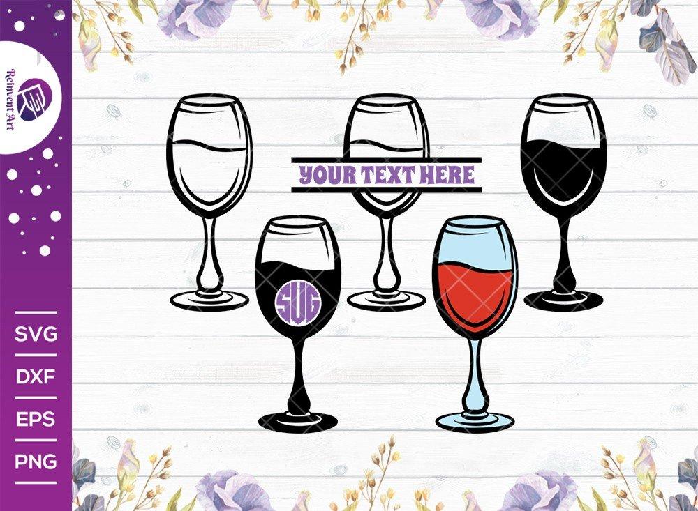 Wine Glass SVG Cut File   Split Monogram   Wine SVG  