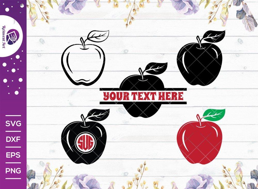 Apple SVG Cut Files | Back To School SVG | Split Monogram
