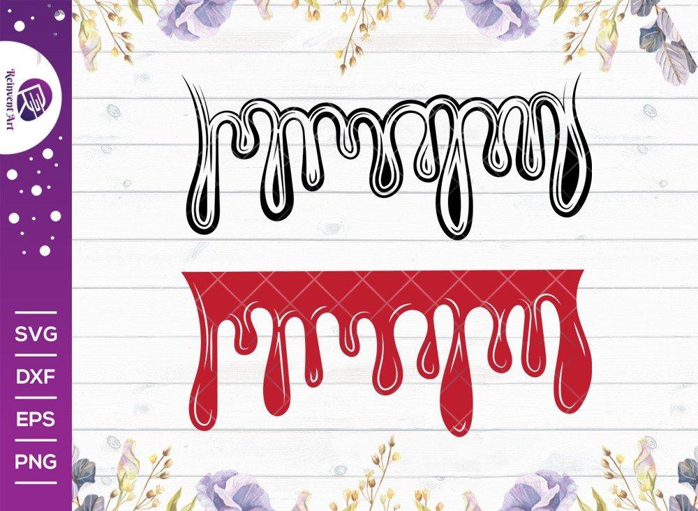 Blood Drop SVG Cut File, Blood Line Drip SVG, Dripping SVG