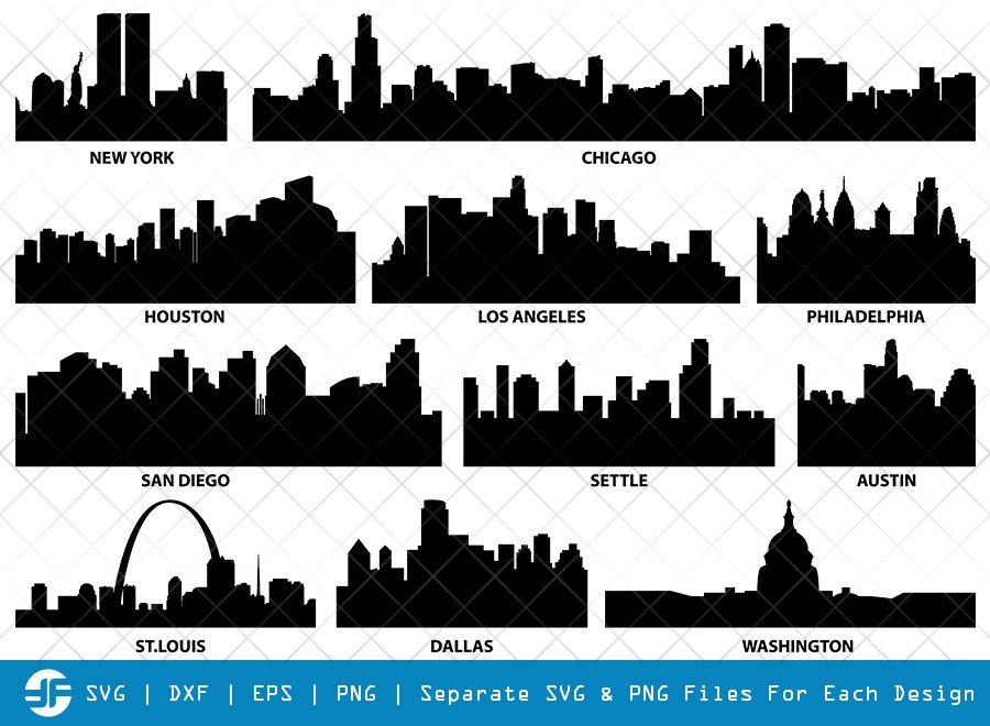 Cities Of USA SVG Cut Files   City SVG   Silhouette Bundle
