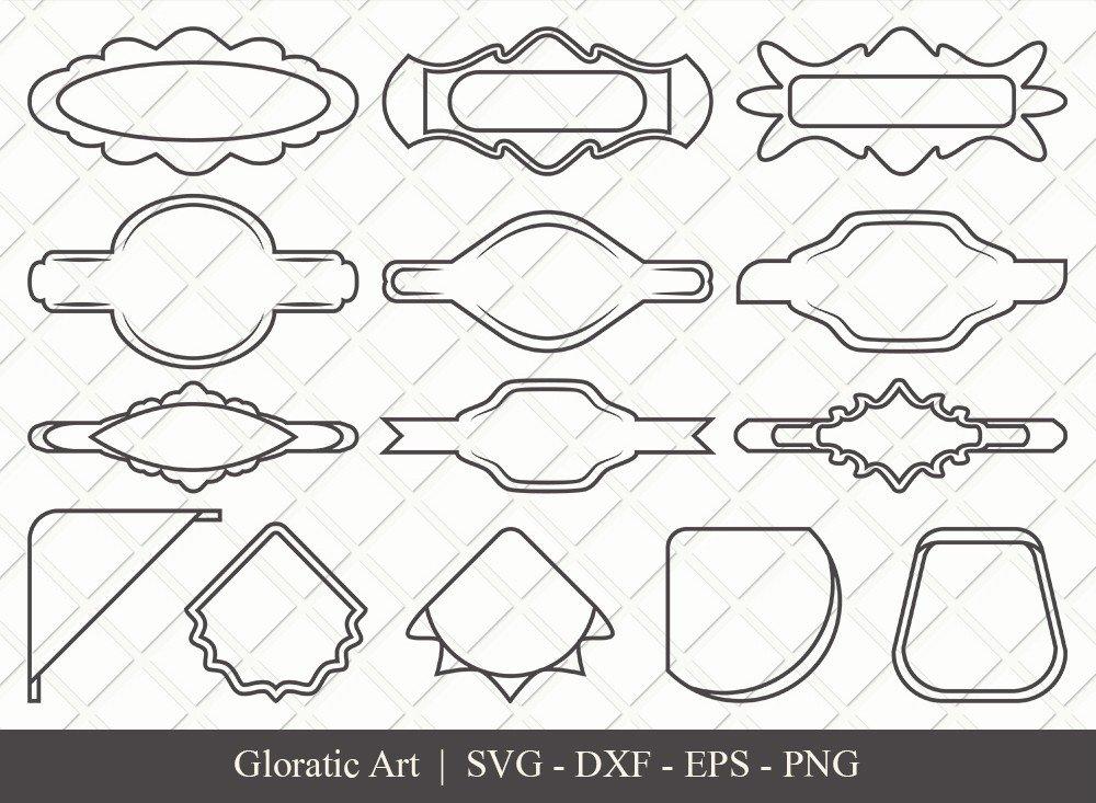 Name Tag Ribbon Outline SVG Cut Files   Name Tag Svg