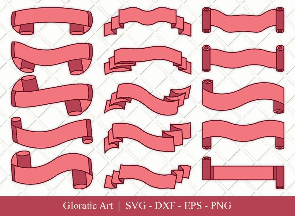 Text Ribbon Clipart SVG Cut Files | Text Banner Svg | TRC002