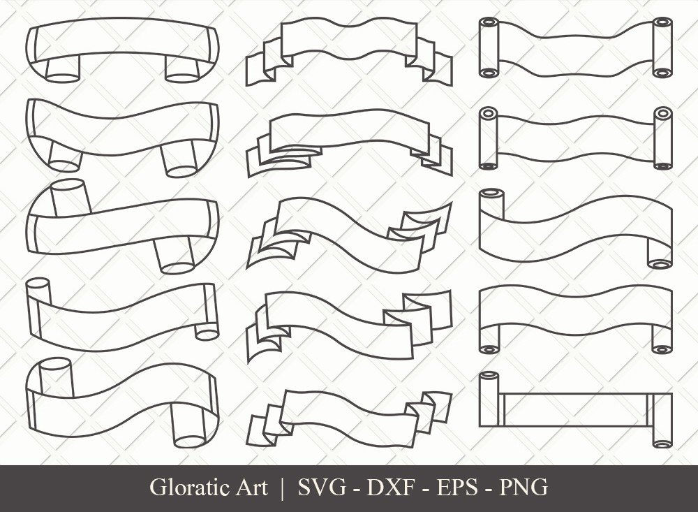 Text Ribbon Outline SVG Cut Files | Text Banner Svg | TRC002