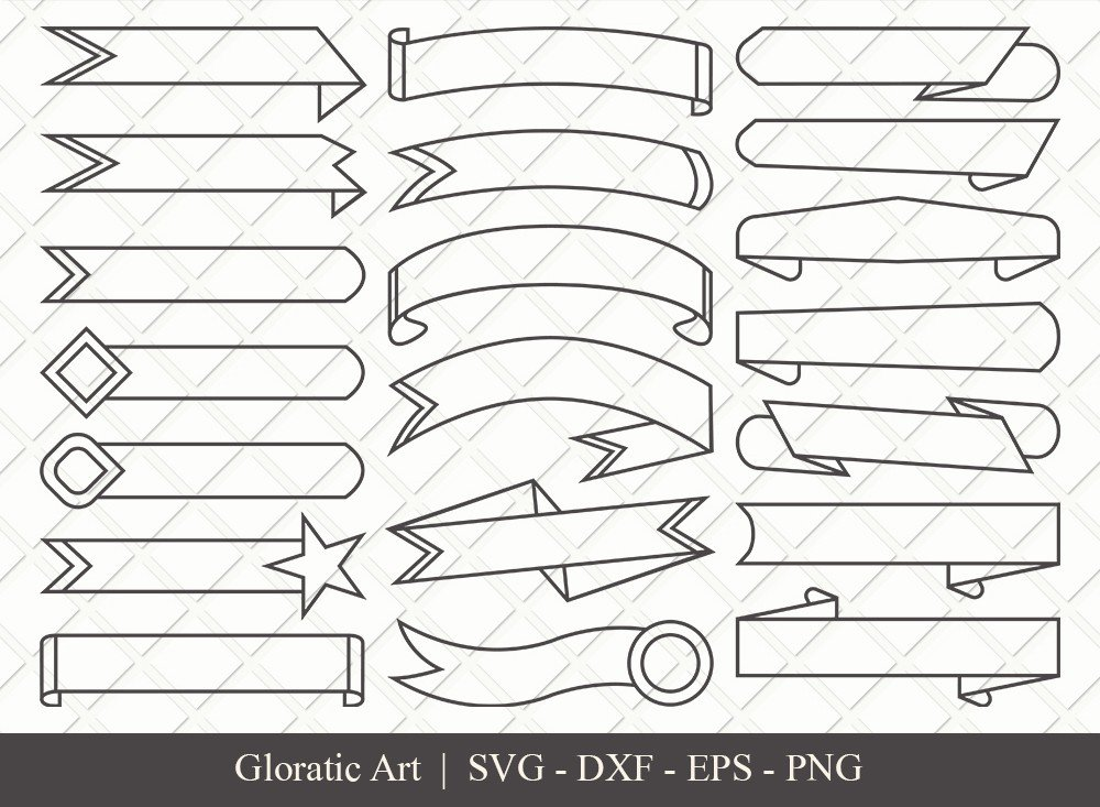 Text Ribbon Outline SVG Cut Files | Text Banner Svg | TRC004