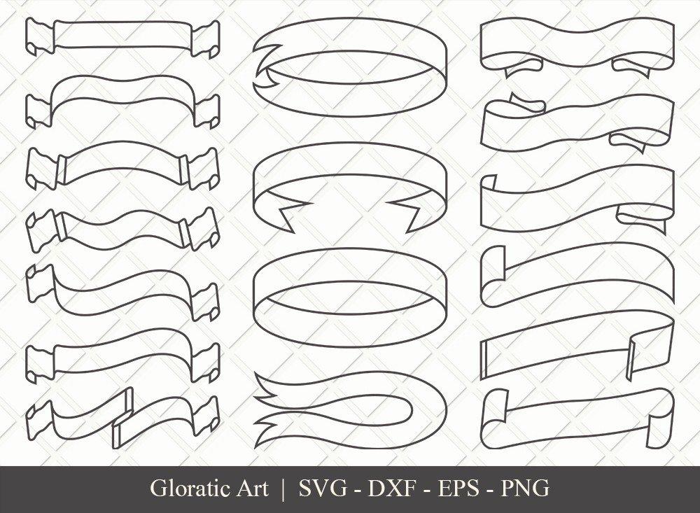 Text Ribbon Outline SVG Cut Files | Text Banner Svg | TRC005