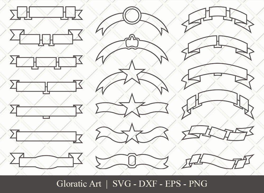 Text Ribbon Outline SVG Cut Files | Text Banner Svg | TRC006