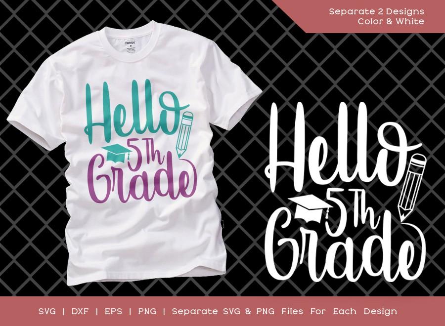 Hello 5th Grade SVG Cut File | Fifth Grade SVG