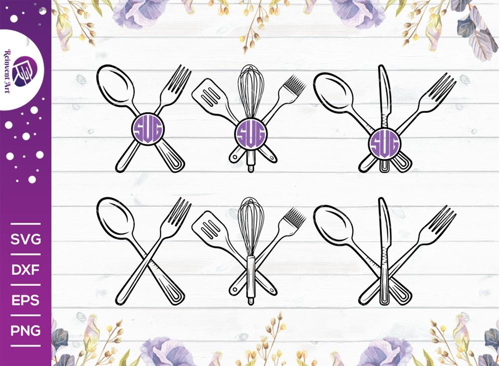 Kitchen Utensils Outline Monogram SVG Cut File | Kitchen