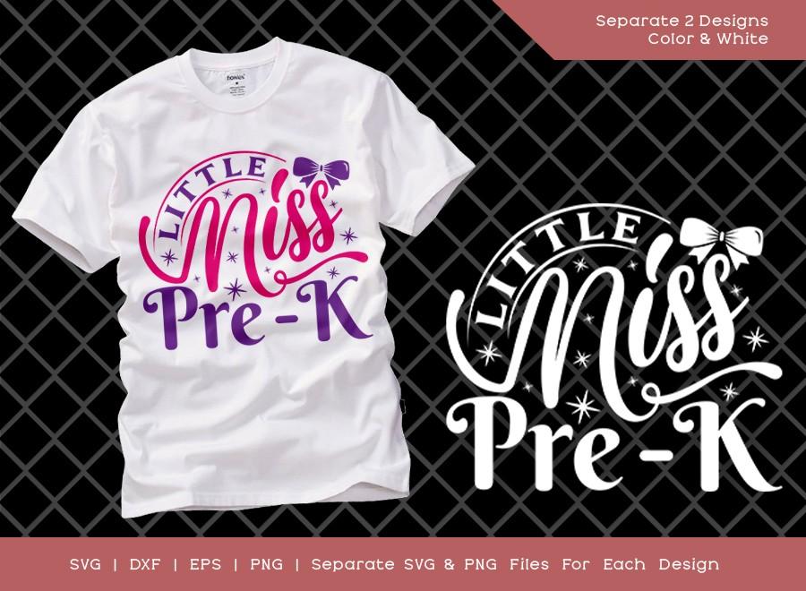 Little Miss Pre-k SVG Cut File | Back To School Svg | Girls