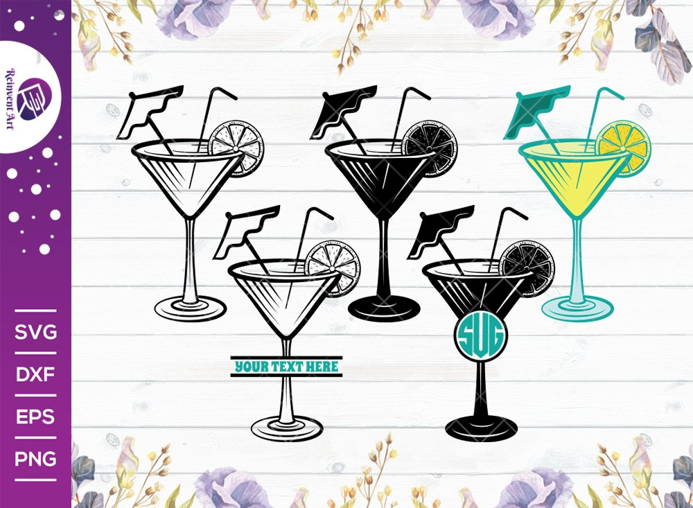 Martini Glass SVG Cut File | Margarita Glass With Lime Svg
