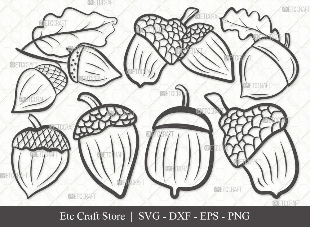 Acorn Outline SVG Cut File | Fall Svg