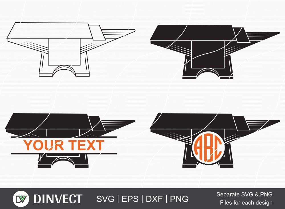 Anvil SVG, Anvil Split Silhouette , Anvil Monogram