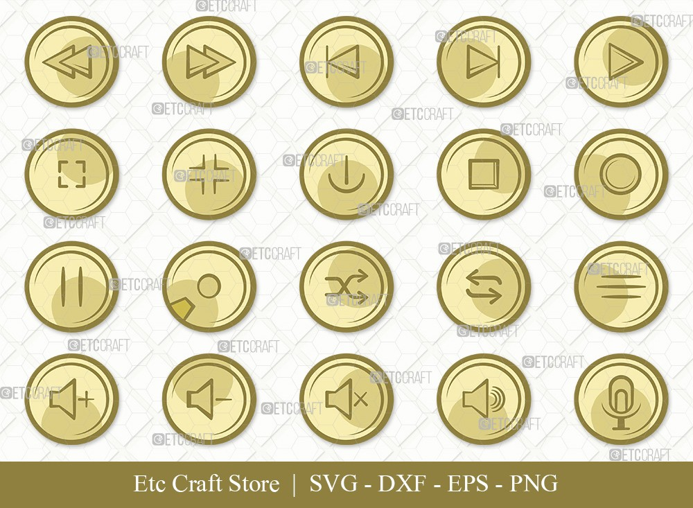 Audio Control Buttons Clipart SVG Cut File