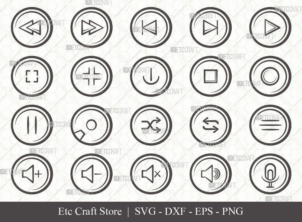 Audio Control Buttons Outline SVG Cut File