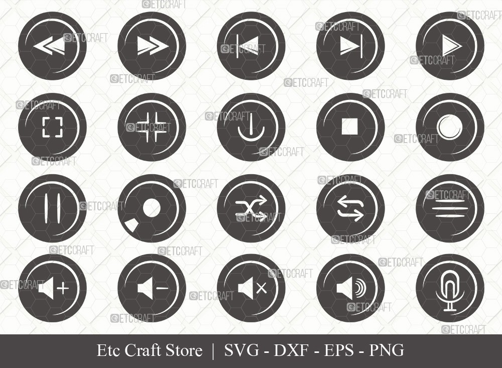 Audio Control Buttons Silhouette SVG Cut File