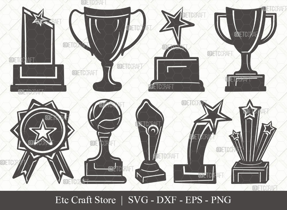 Award Trophy Silhouette SVG Cut File | Trophy Cup Svg