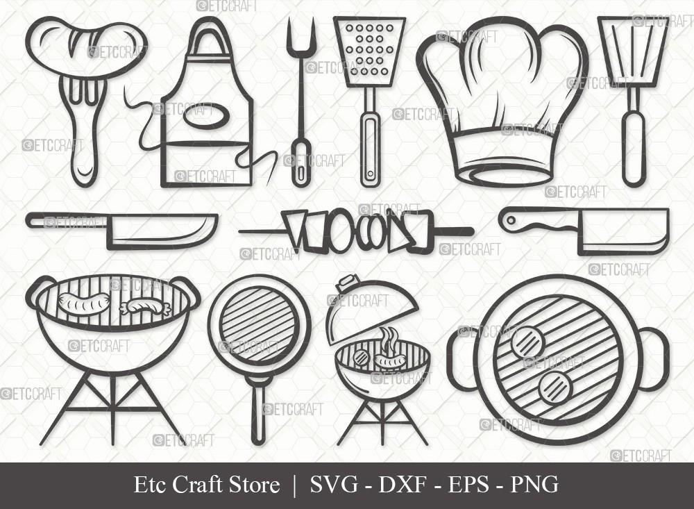 BBQ Outline SVG Cut File | Barbecue Svg