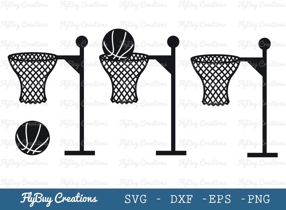 Basket Ball With Basket SVG Cut File   Sports
