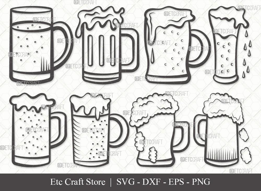 Beer Mug Outline SVG Cut File | Beer Svg