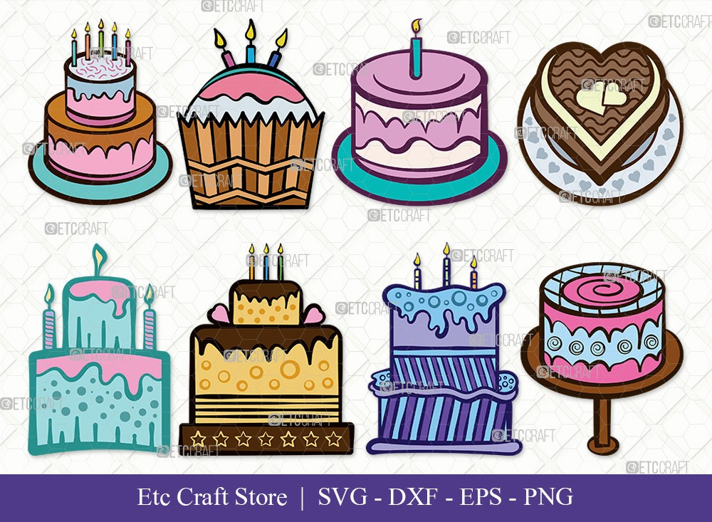 Birthday Cake Clipart SVG Cut File | Cake Svg