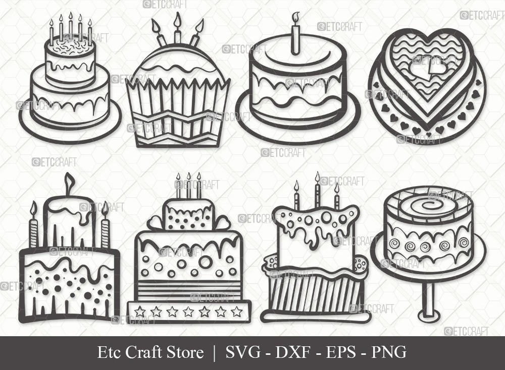 Birthday Cake Outline SVG Cut File | Cake Svg