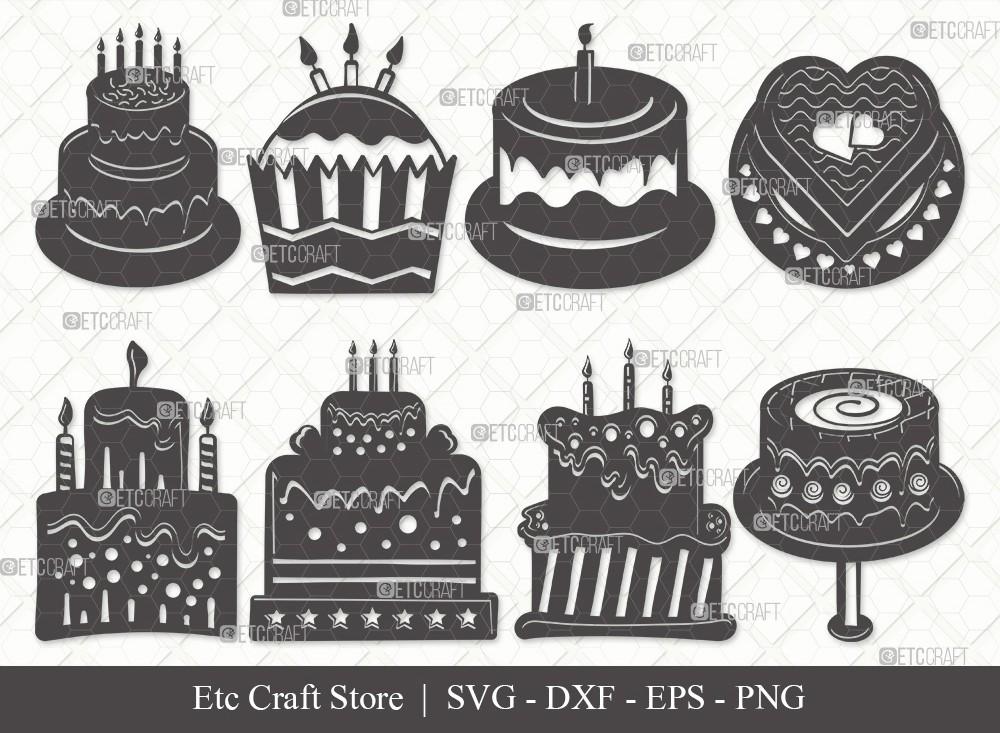 Birthday Cake Silhouette SVG Cut File | Cake Svg