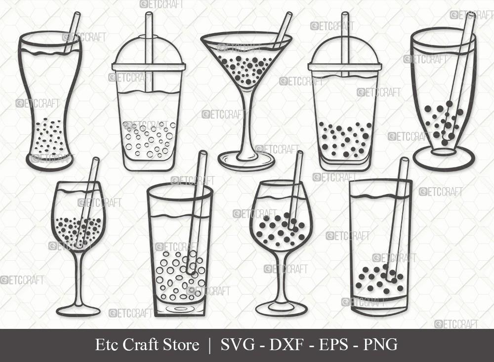 Bubble Tea Outline SVG Cut File | Boba Tea Svg