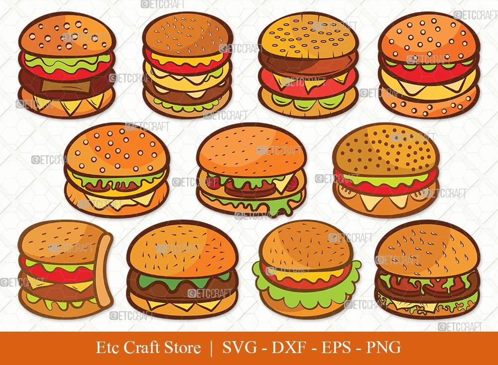 Burger Clipart SVG Cut File | Hamburger Svg