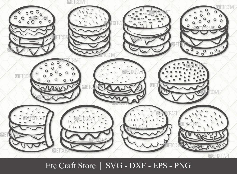 Burger Outline SVG Cut File   Hamburger Svg