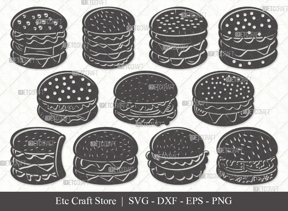 Burger Silhouette SVG Cut File   Hamburger Svg