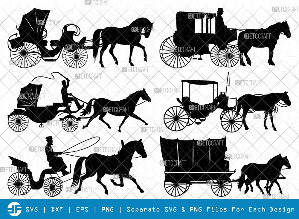 Carriages SVG Cut Files | Horse Carriage Silhouette