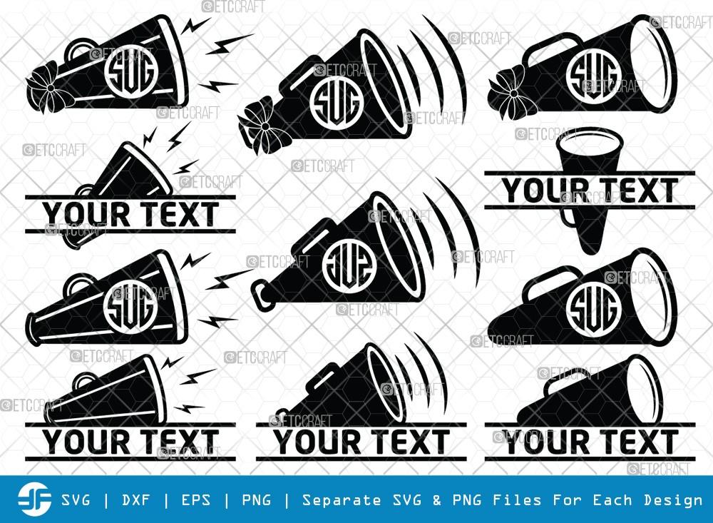 Cheer Megaphone Monogram SVG Cut Files
