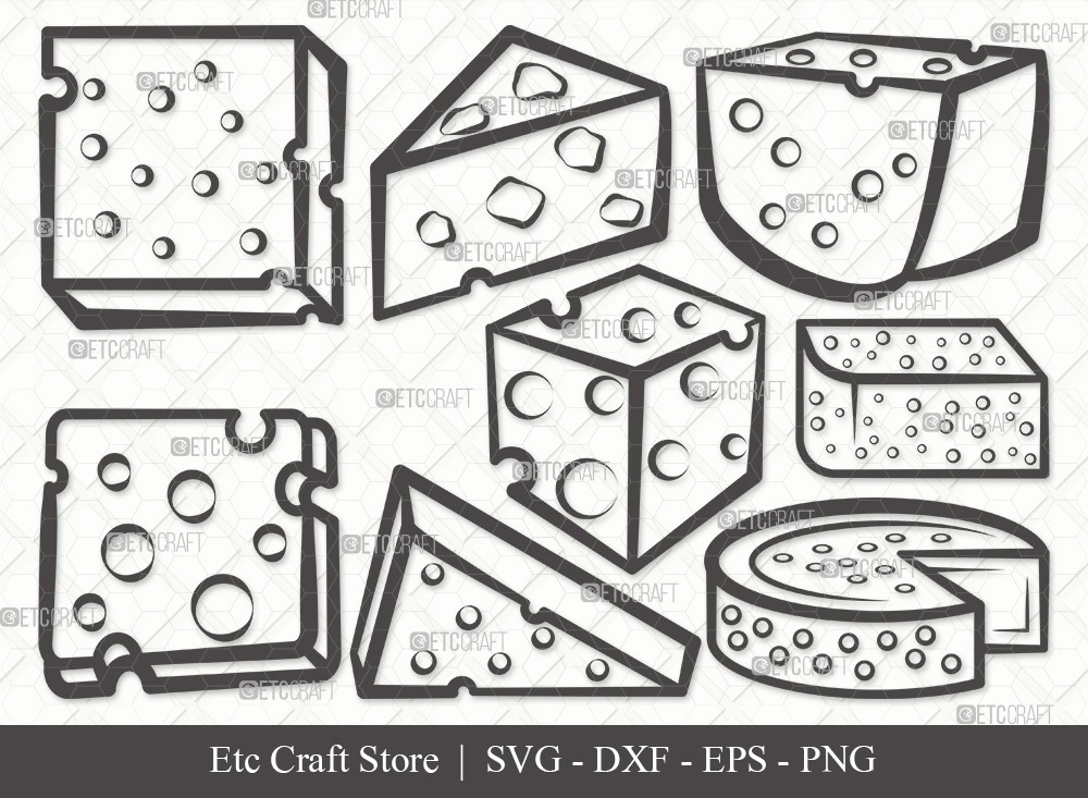 Cheese Outline SVG Cut File | Cheese Slice Svg