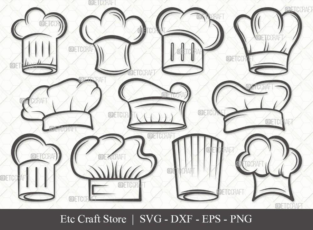 Chef Hat Outline SVG Cut File | Chef Svg