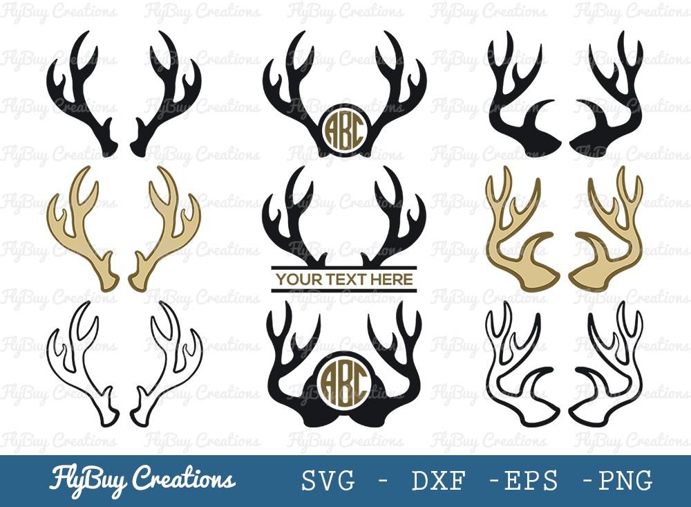 Deer Antlers SVG Cut File | Antlers Silhouette Svg