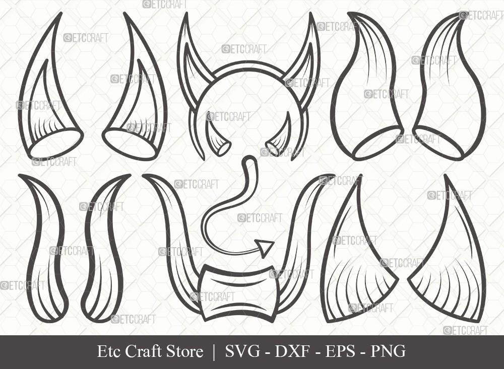 Devil Horns Outline SVG Cut File | Devil Tail SVG