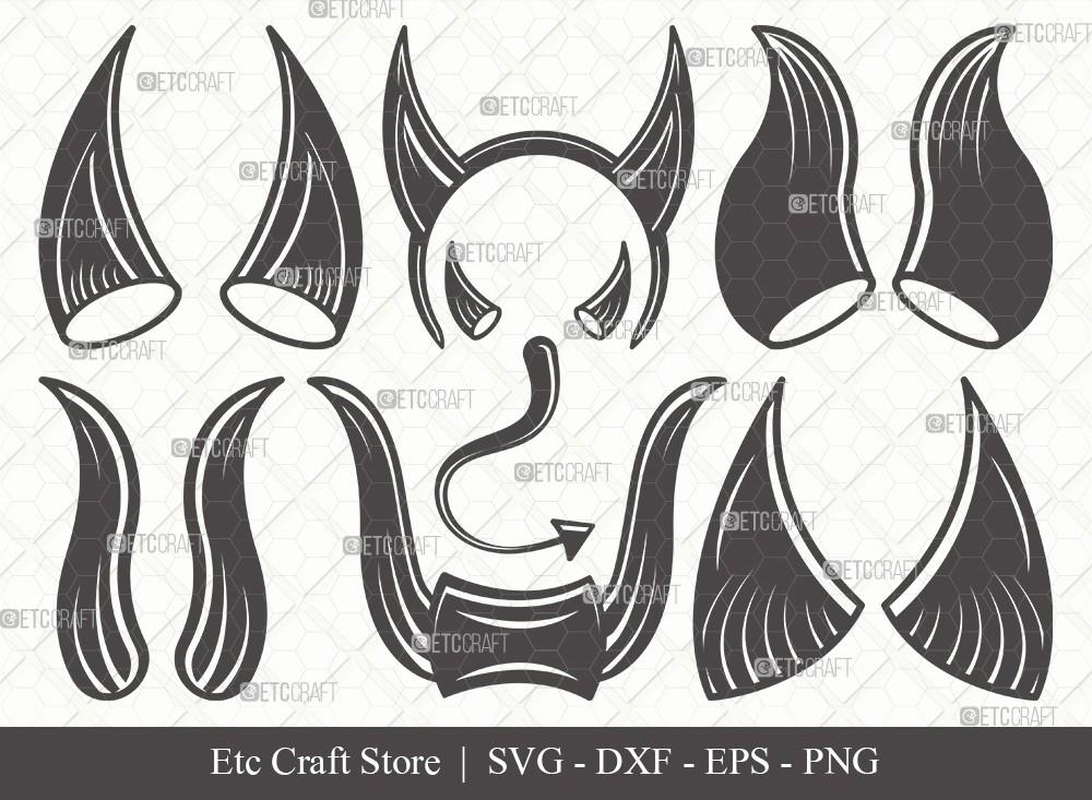 Devil Horns Silhouette SVG Cut File | Devil Tail
