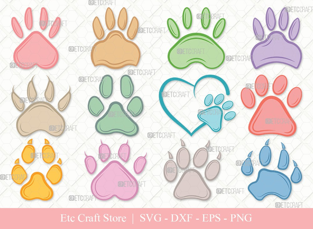 Dog Paw Clipart SVG Cut File | Paw Print Svg