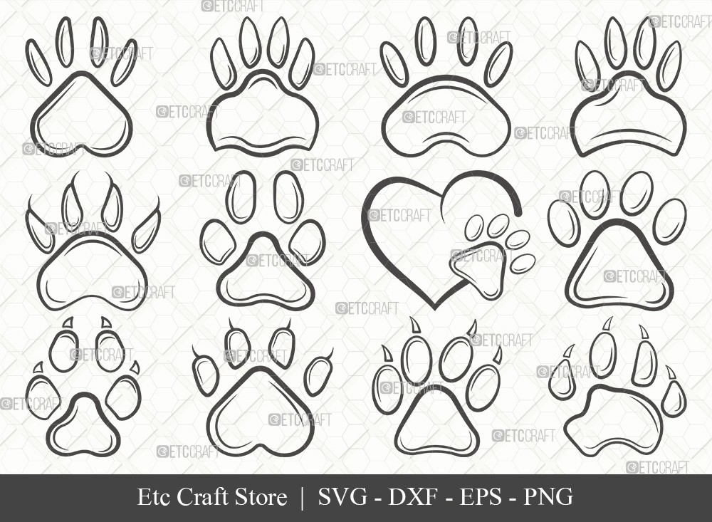 Dog Paw Outline SVG Cut File | Paw Print Svg